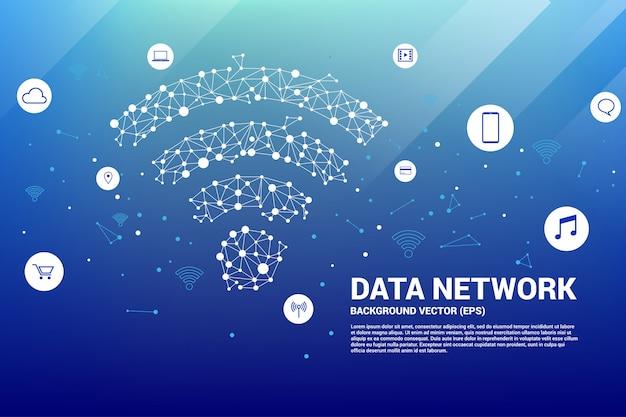Polygoon mobiel gegevenspictogram. concept voor gegevensoverdracht van mobiel en wi-fi gegevensnetwerk Premium Vector