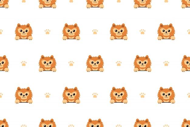 Pomeranian hond naadloze patroon achtergrond Premium Vector