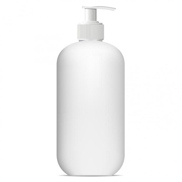 Pompfles. mockup van de dispenser. cosmetisch product Premium Vector