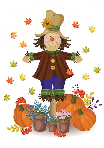 Pompoen en herfstbladeren decor. vintage kaart Premium Vector