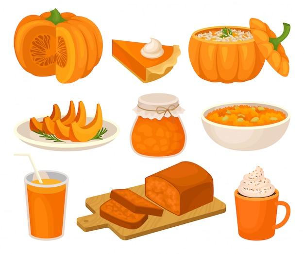 Pompoen gerechten set, taart, jampot, fruitcake, pap, spice slagroom latte, smoothie illustratie op een witte achtergrond Premium Vector