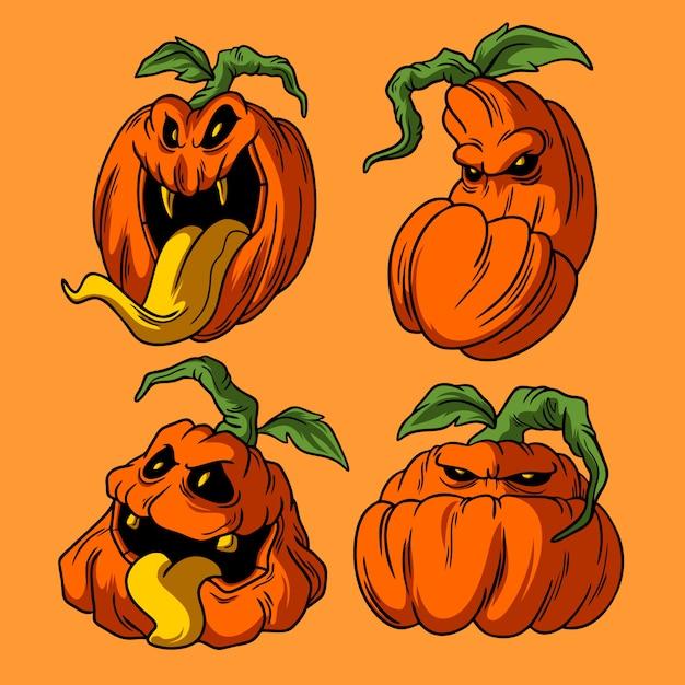 Pompoen halloween illustraties hand getrokken stijl Premium Vector