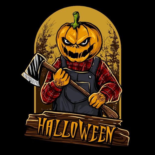 Pompoen hoofd halloween karakter Premium Vector