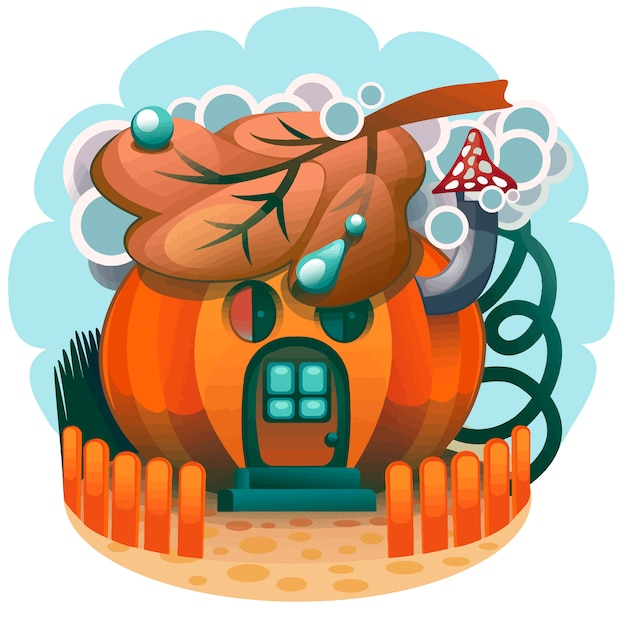 Pompoen huis hand getrokken Premium Vector