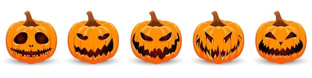 Pompoen instellen op witte achtergrond. oranje pompoen met glimlach voor uw ontwerp voor de vakantie halloween. Premium Vector
