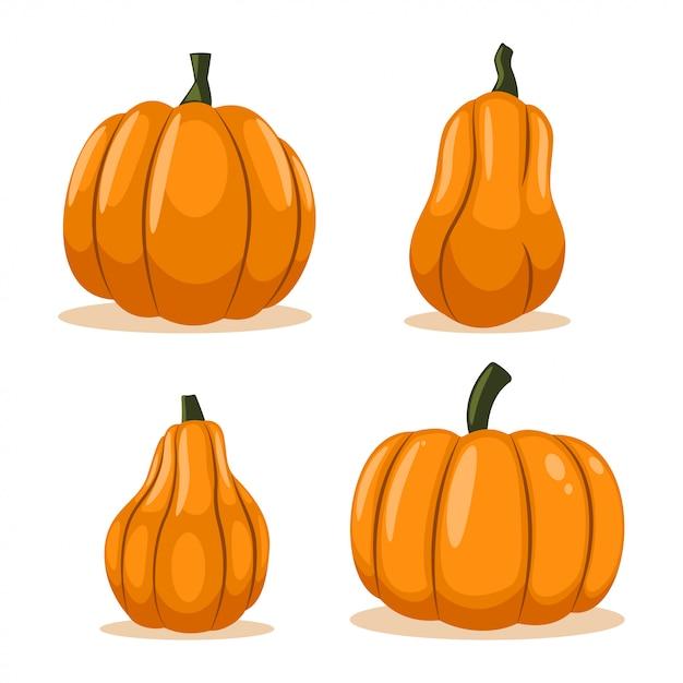 Pompoen vector cartoon set geïsoleerd op een witte achtergrond. Premium Vector