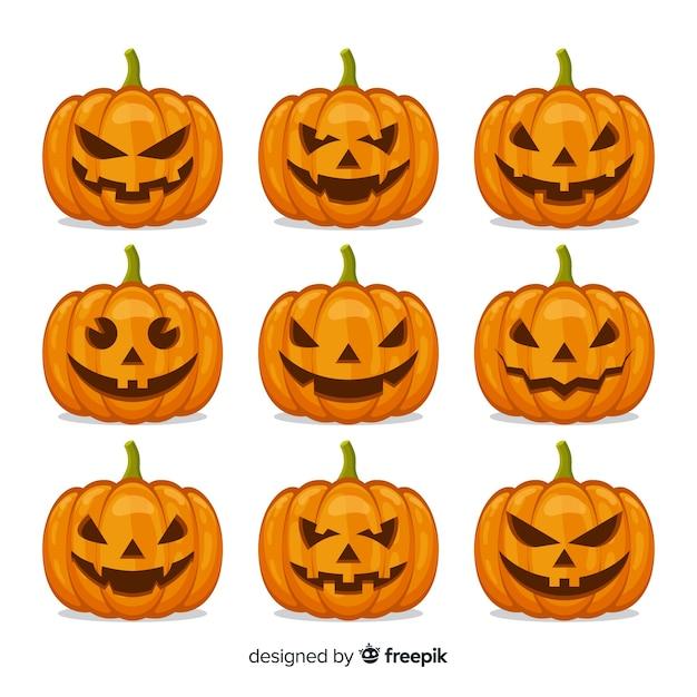 Pompoencollectie voor halloween-decor Gratis Vector