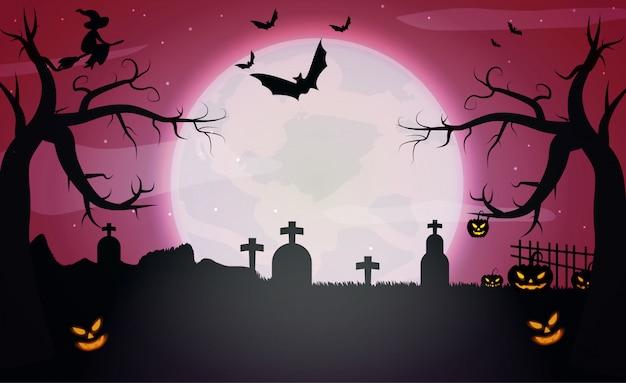 Pompoenen en donker kasteel op rode maan halloween achtergrond. Premium Vector