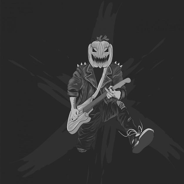 Pompoenen hoofd rocker voor halloween poster, banner en t-shirt Premium Vector