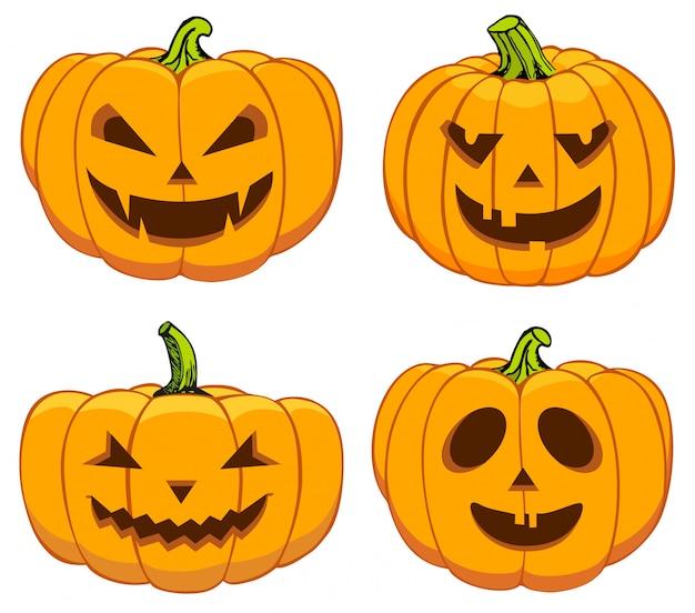 Pompoenen instellen voor halloween Premium Vector