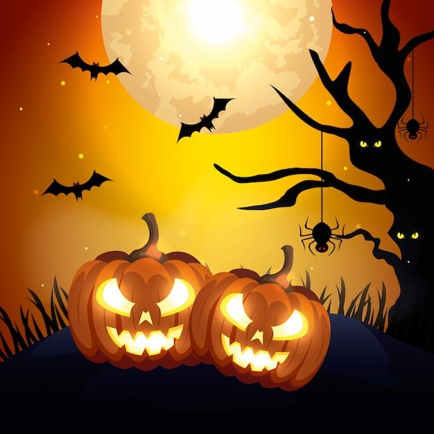 Pompoenen met pictogrammen van halloween-illustratie Premium Vector