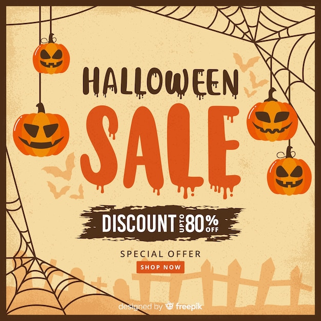 Pompoenen op spinnewebben halloween verkoop Gratis Vector
