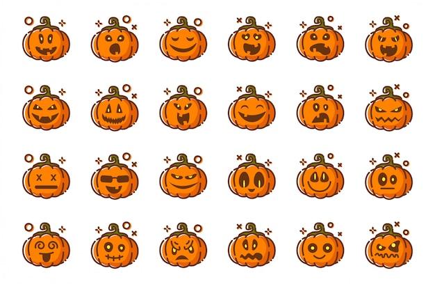 Pompoenenemoji voor geïsoleerd halloween, pictogrammen op witte, grappige griezelige karakters Premium Vector