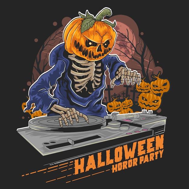 Pompoenkop halloween dj in muziekpartij Premium Vector