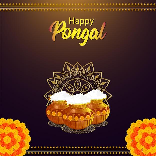 Pongal-kaart en achtergrond Premium Vector