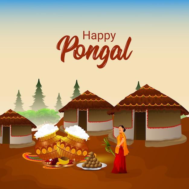 Pongal viering creatieve achtergrond Premium Vector