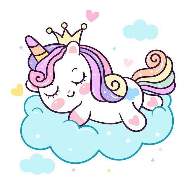 Pony slapen op wolk Premium Vector