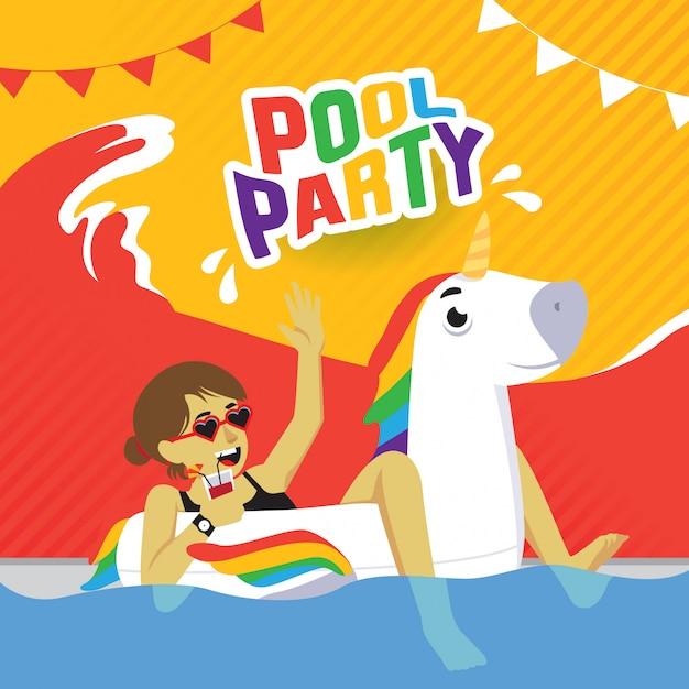 Pool party poster met meisje op opblaasbare eenhoorn Premium Vector