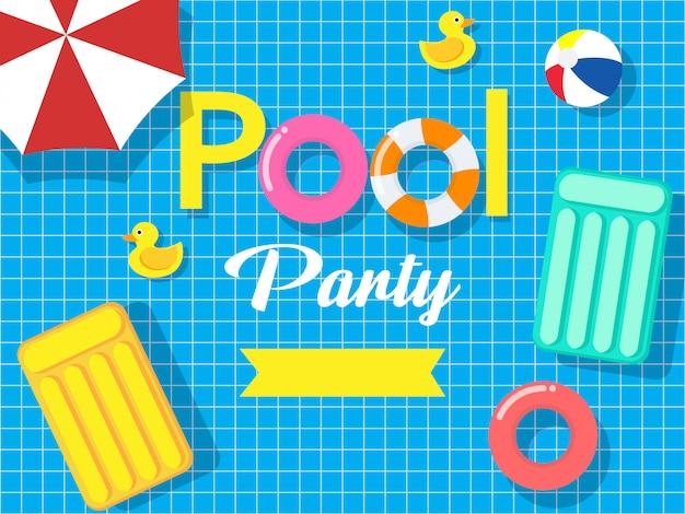 Pool party uitnodigingskaart Premium Vector