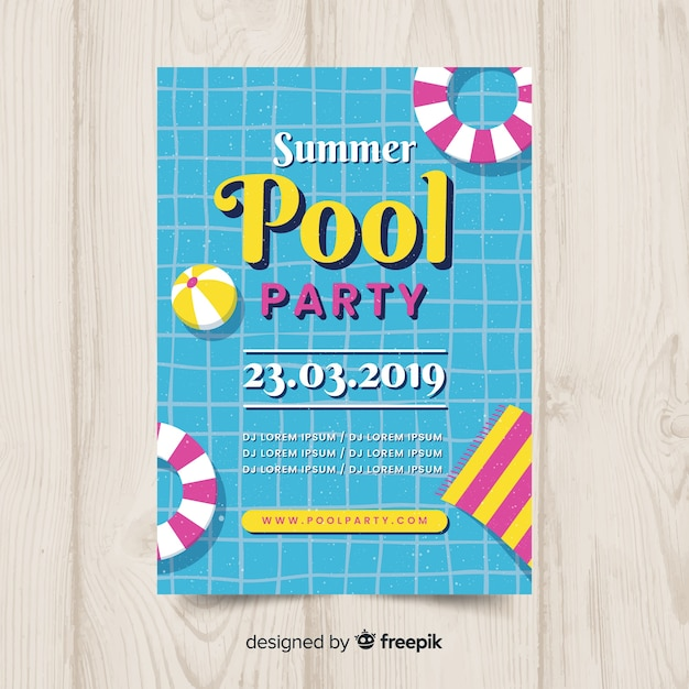 Pool zomerfeest poster Gratis Vector