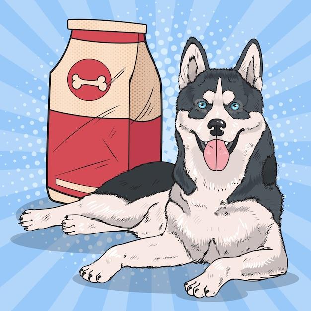 Pop art husky dog met groot voedselpakket Premium Vector