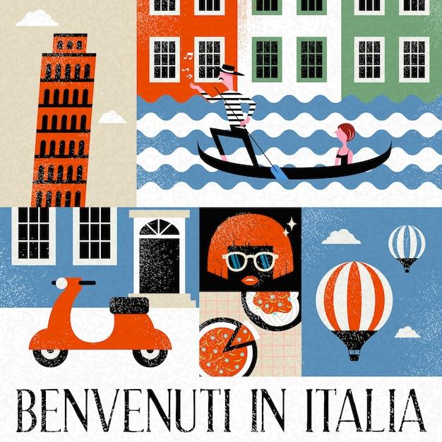 Pop-art italië reiscollectie en italiaanse woorden voor welkom in italië onderaan Premium Vector