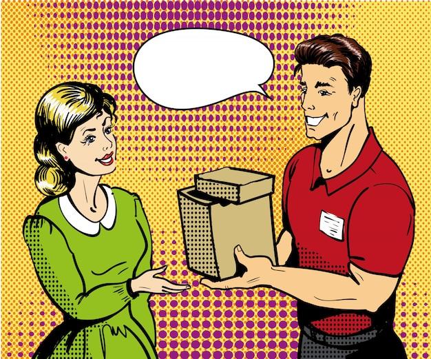Pop-art levering illustratie. leveringsman die doos overhandigen aan vrouw. Premium Vector