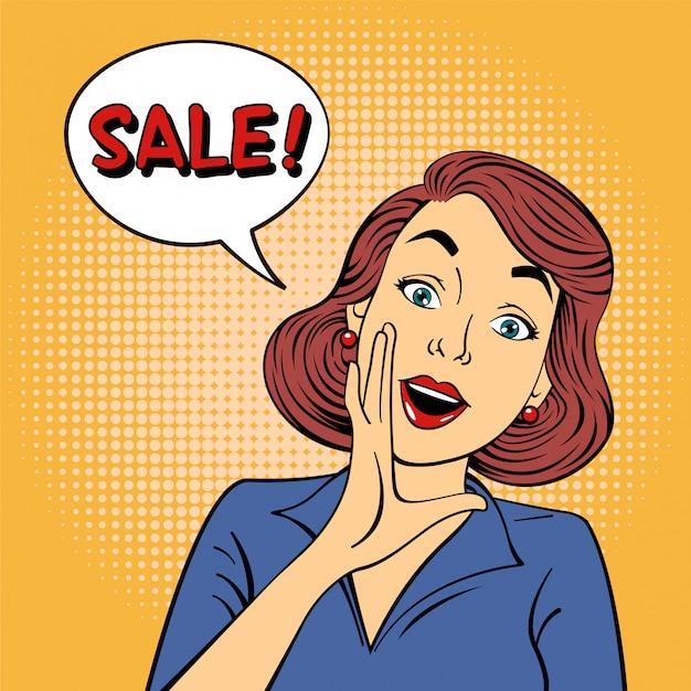 Pop-art sale banner met meisje Premium Vector