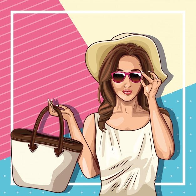 Pop-artmode en mooie vrouwencartoon Gratis Vector