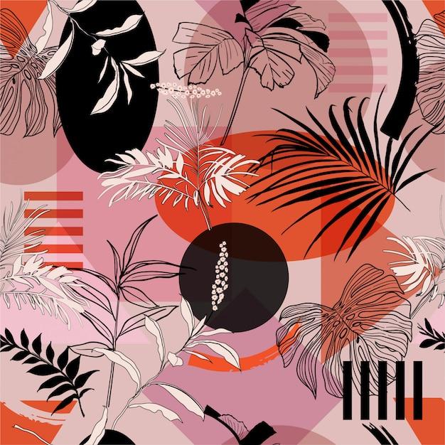 Pop-kleur van de zomer van geometrische vorm met tropisch bos Premium Vector