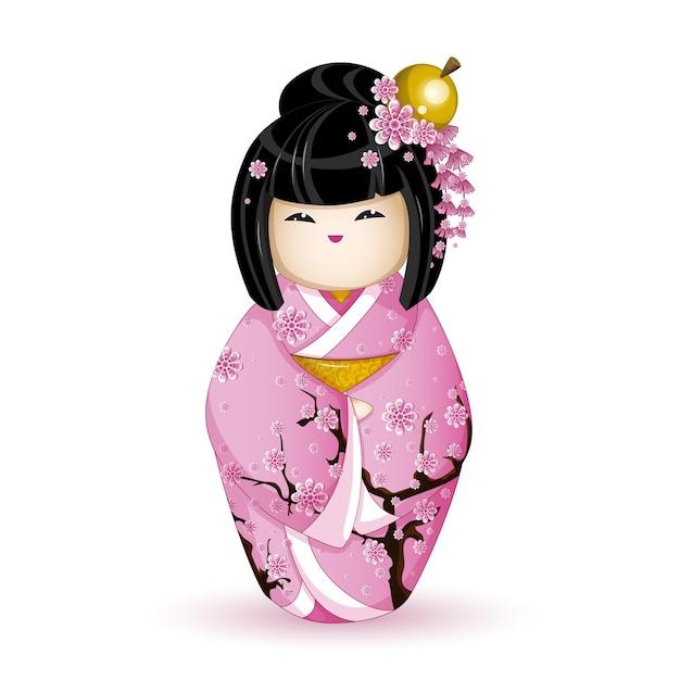 Pop kokeshi in roze kimono met sakura. Premium Vector