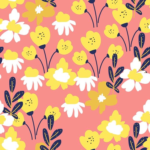 Pop stijl bloemen naadloos patroon Premium Vector