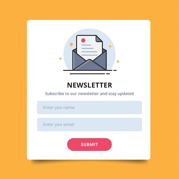 Pop-up letterpictogram voor online aankopen van nieuwsbrieven, gebruikersinterface en verzenden. Premium Vector