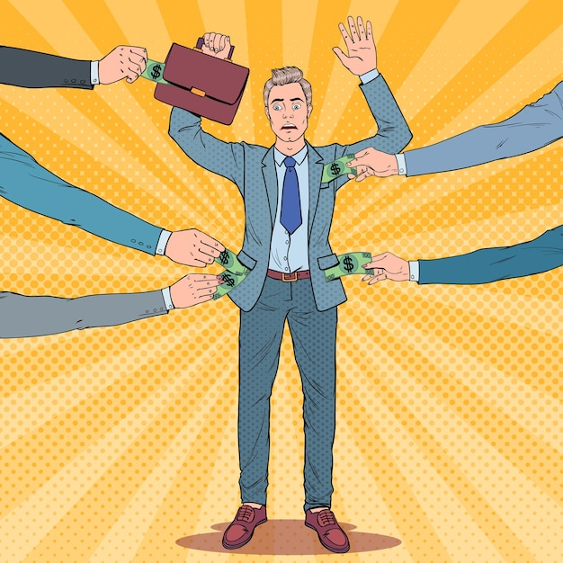 Popart bezorgd zakenman met handen omhoog beroofd door dieven Premium Vector