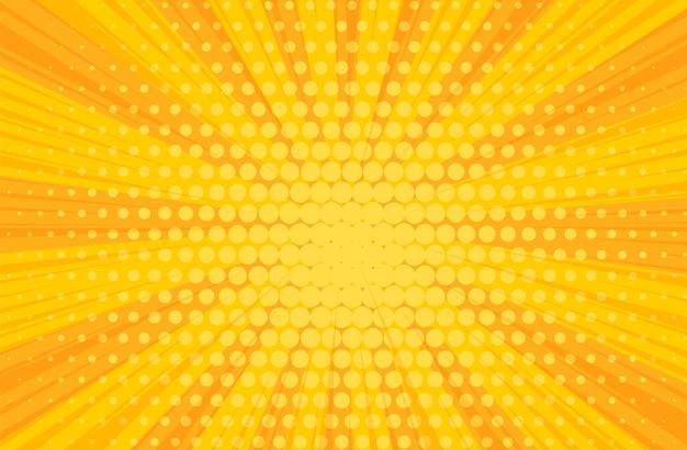 Popart gele strips boeken radiale achtergrond Premium Vector