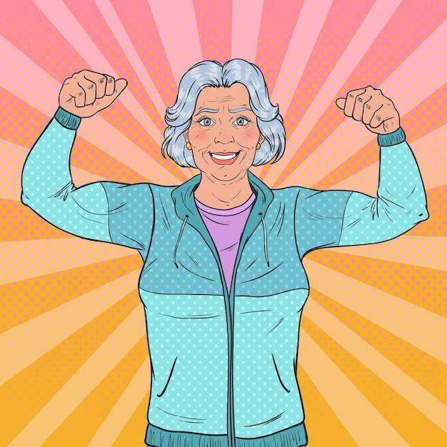 Popart glimlachend senior volwassen vrouw spieren tonen. gezonde levensstijl. gelukkig sterke grootmoeder. Premium Vector
