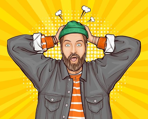 Popart illustratie van verrast, geschokt of perplex hipster man hand in hand op het hoofd, wijd opent zijn mond, ogen. Gratis Vector
