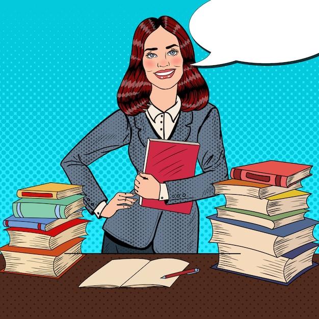 Popart jonge vrouw zittend op de bibliotheek tafel en leesboek met hand teken duim omhoog. Premium Vector