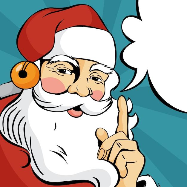 Popart kerstman in rode kleren praten met tekstballon. gelukkig vintage retro karakter. illustratie Premium Vector
