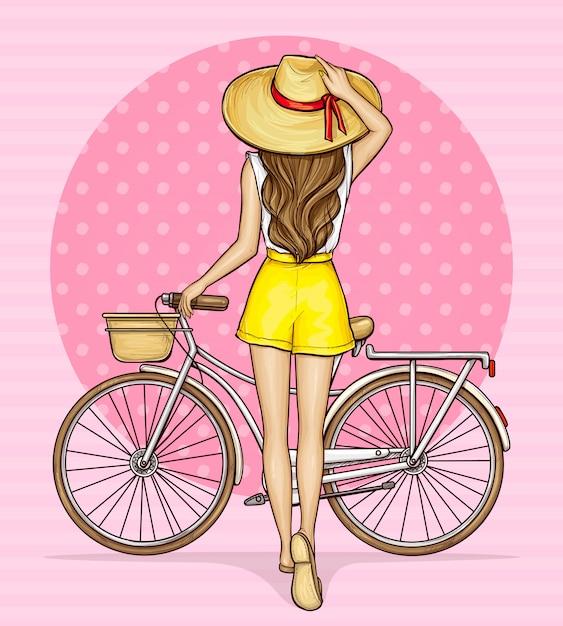 Popart meisje in de buurt van fiets met mand Gratis Vector