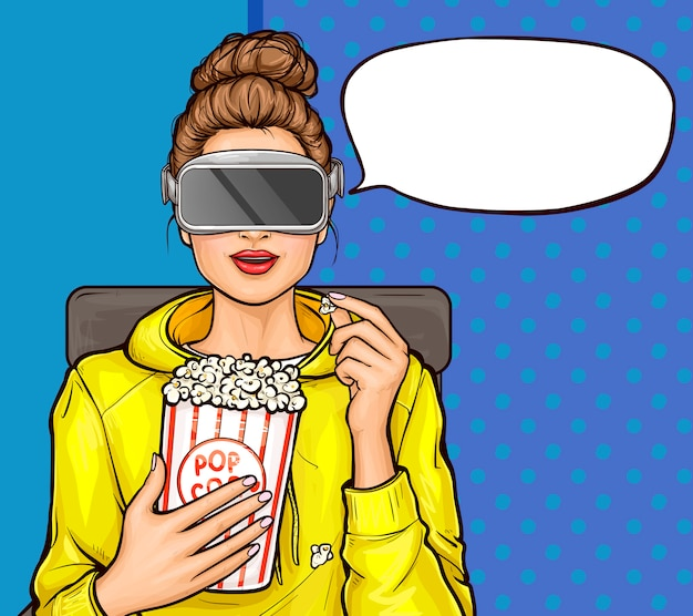 Popart meisje in virtual reality bril film kijken Gratis Vector