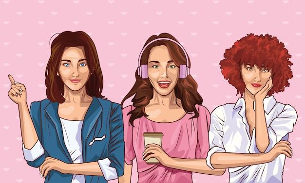 Popart mode en mooie vrouwen cartoon Premium Vector