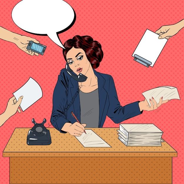 Popart multitasking drukke zakenvrouw op kantoorwerk. illustratie Premium Vector
