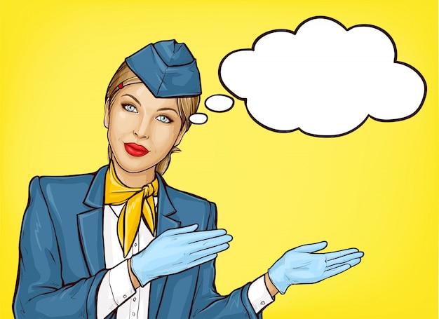 Popart stewardess in blauw uniform Gratis Vector