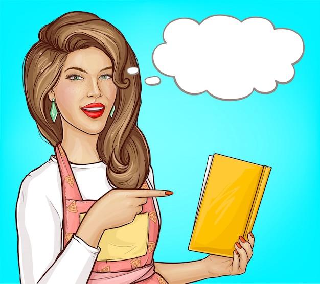 Popart vrouw wijzende vinger in open kookboek, lege tekstballon Gratis Vector
