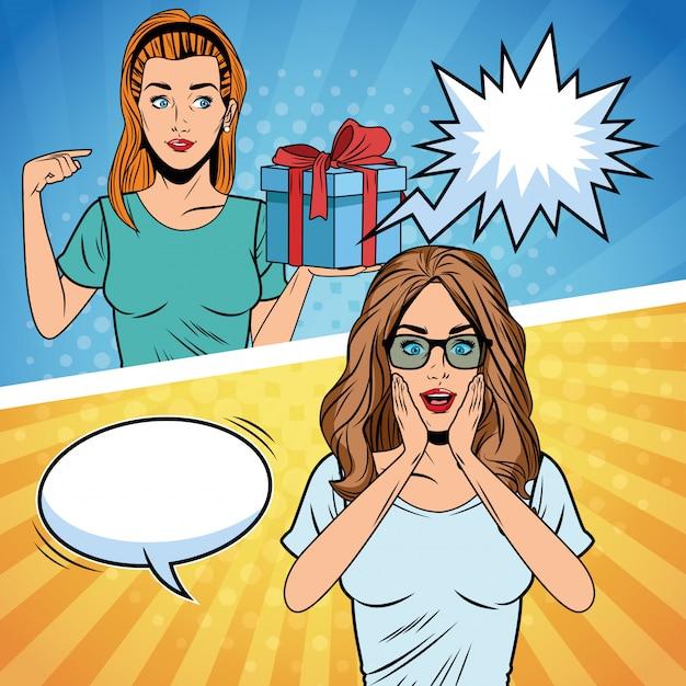 Popart vrouwen verjaardag cartoon Premium Vector
