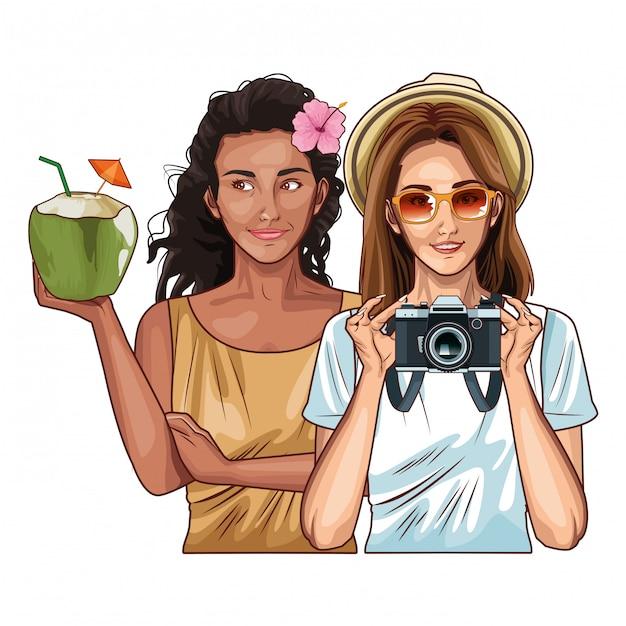 Popart vrouwen vrienden lachend cartoon Premium Vector