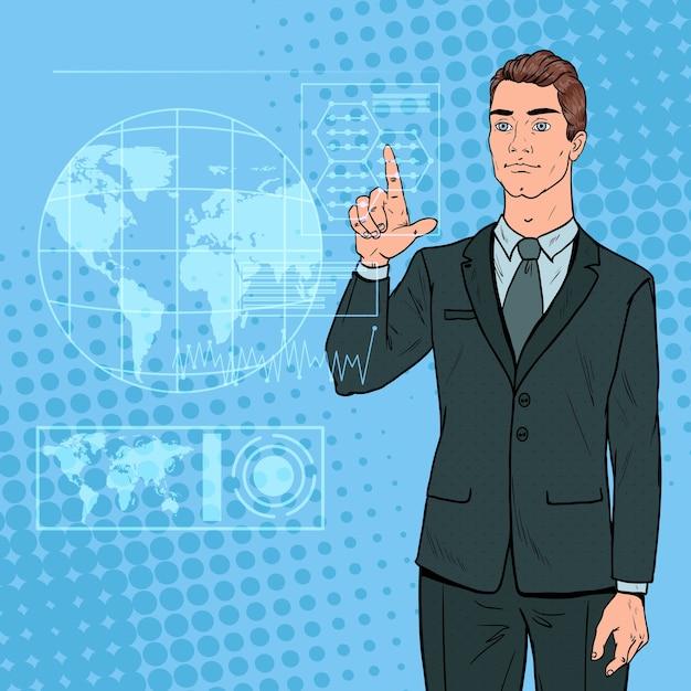 Popart zakenman met behulp van virtuele holografische interface. futuristische technologie touchscreen. Premium Vector