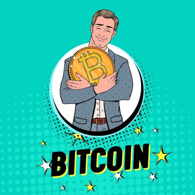 Popart zakenman met grote gouden bitcoin-munt. crypto-valuta-concept. virtueel geld reclameaffiche. Premium Vector