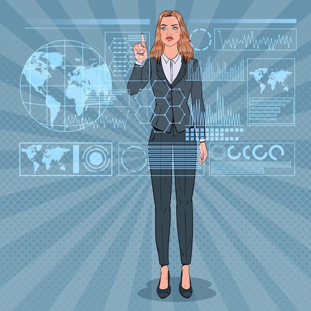 Popart zakenvrouw met behulp van virtuele holografische interface. futuristische technologie touchscreen. Premium Vector